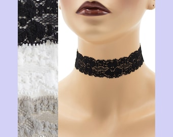 Stretch Lace Choker 1 - 1.25 inches wide Black White or Gray Custom made Your Length and Color shade (approximate width 25 - 30 mm) elastic