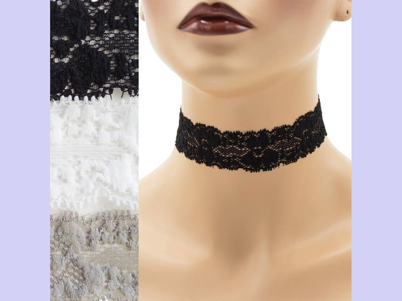Stretch Lace Choker 1  1.25 inches wide Black White or Gray image 0