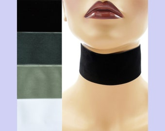 """Extra Wide 2-inch Black White or Gray Velvet Choker Custom made Your Length and Color shade (approximate width 2 inches; 50 - 51 mm; 2"""")"""
