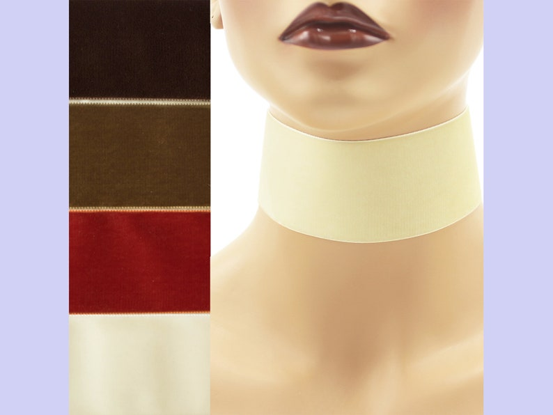 Extra Wide 2-inch Brown or Ivory Velvet Choker Custom made image 0
