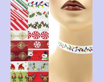 Custom Christmas Choker 5/8 inch wide necklace (16 mm width) winter holiday red green white gold santa claus snowmen reindeer candy stripes