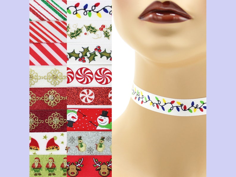 Custom Christmas Choker 5/8 inch wide necklace 16 mm width image 0