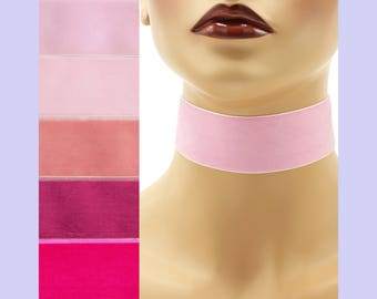 Pink Velvet Choker 1.5 inch wide Custom made Your Length and Color shade (approximate width 1-3/8 - 1-1/2 inches;  36 - 38 mm) rose light +