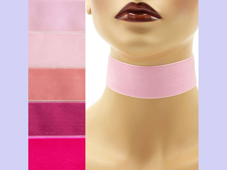 Pink Velvet Choker 1.5 inch wide Custom made Your Length and image 0
