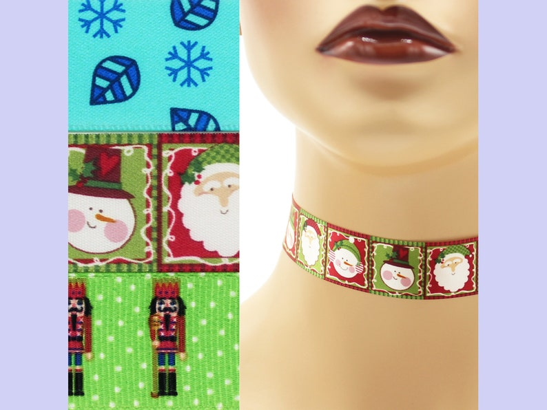 Custom Christmas Choker 7/8 inch wide necklace 22  23 mm image 0