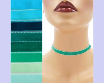 Teal Velvet Choker 3/8 inch wide Custom made Your Length and Color shade (approximate width 0.375 inches; 9 - 10 mm) elastic colors noted