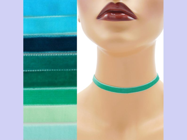 Teal Velvet Choker 3/8 inch wide Custom made Your Length and image 0