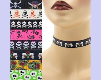Custom Skulls Choker 5/8 inch wide necklace (15 - 17 mm width) Halloween skull crossbones pirates sabers swords roses orange black punk goth
