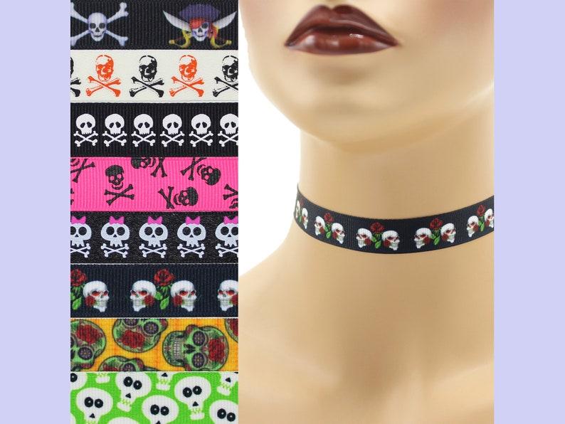 Custom Skulls Choker 5/8 inch wide necklace 15  17 mm width image 0