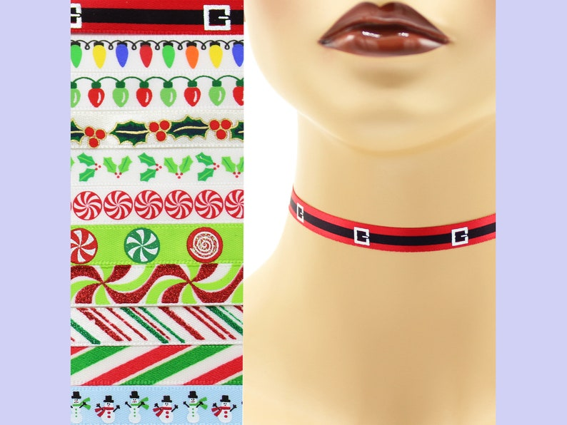 Custom Christmas Choker 3/8 inch wide necklace 9  10 mm image 0