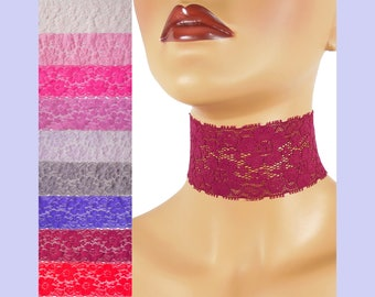 Extra Wide Stretch Lace Choker 2 - 2.25 inches Red Pink or Purple Custom made Your Length and Color shade (approximate width 50 - 60 mm)