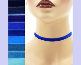 Blue Velvet Choker 3/8 inch wide Custom made Your Length and Color shade (approximate width 0.375 inches; 9 - 10 mm) elastic colors noted