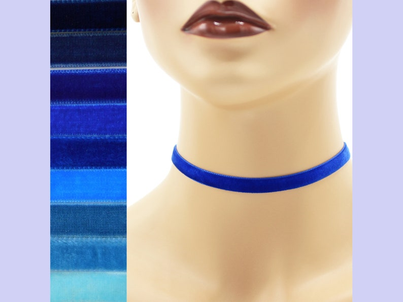 Blue Velvet Choker 3/8 inch wide Custom made Your Length and image 0