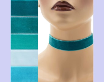 Teal Velvet Choker 7/8 inch wide Custom made Your Length and Color shade (approximate width 0.875 inches;  22 - 23 mm) turquoise jade aqua +