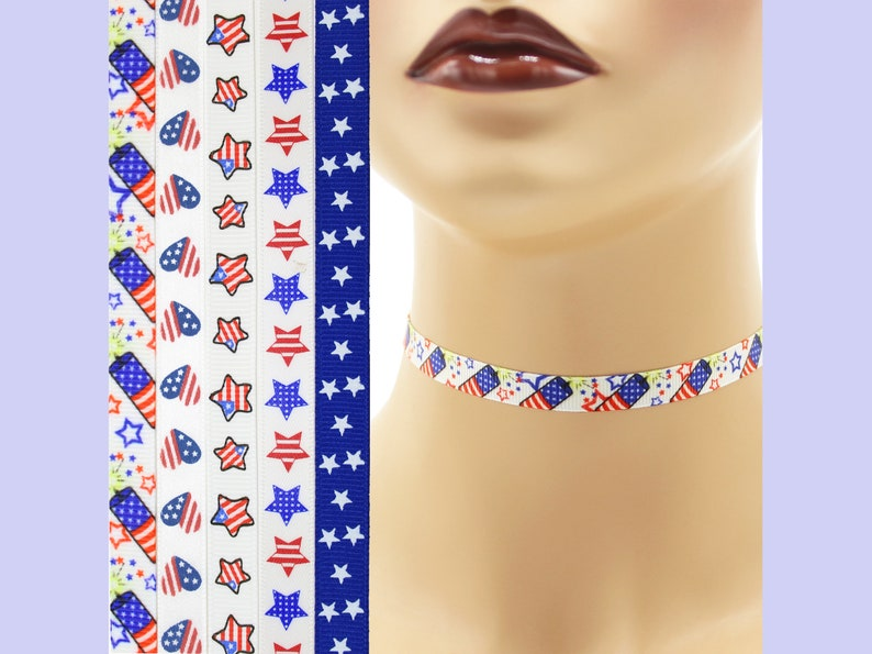 Custom Patriotic Choker 3/8 inch Independence Day Necklace 9 image 0