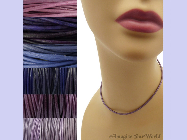 Custom Purple LEATHER Cord Necklace up to 36 inches long 1.5 image 0