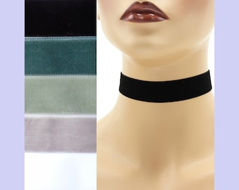 Velvet Choker 7/8 inch wide Custom made Your Length and Color Black White Gray shades + (approximate width 0.875 inches; 22 - 23 mm)