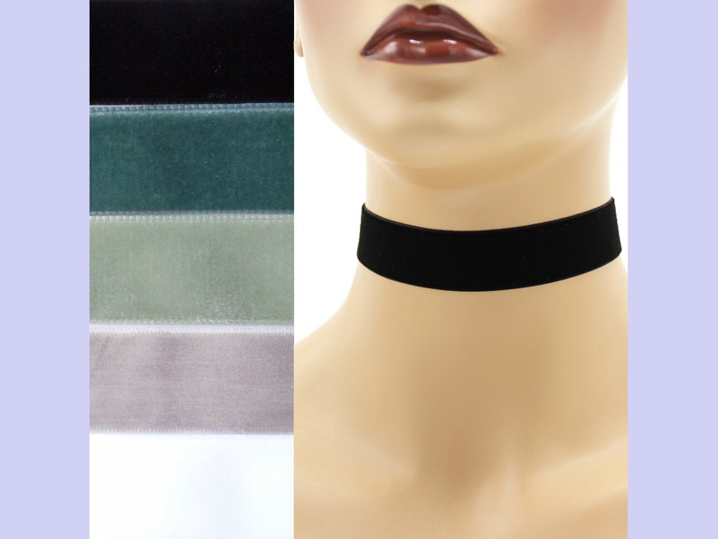 Velvet Choker 7/8 inch wide Custom made Your Length and Color image 0