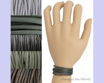 Custom Gray LEATHER Cord Wrap Bracelet up to 72 inches long 1.5 mm, 2 mm or 3 mm choose shade, diameter, length, clasp color multi-wrap
