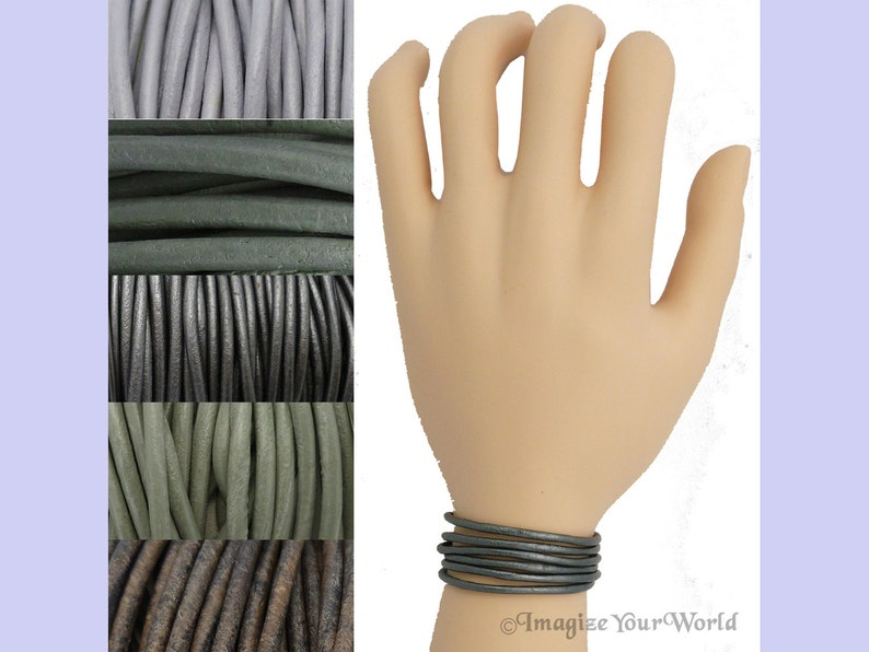 Custom Gray LEATHER Cord Wrap Bracelet up to 72 inches long Iceberg