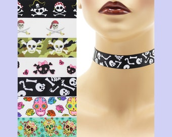 Custom Skulls Choker 7/8 inch wide necklace (22 - 23 mm width) Halloween sugar skull crossbones bones pirates sabers sabres swords punk goth