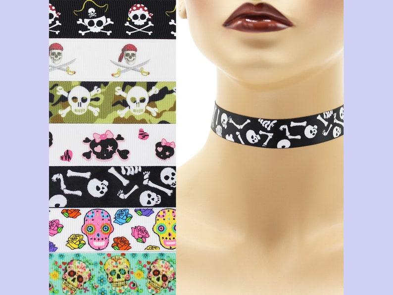 Custom Skulls Choker 7/8 inch wide necklace 22  23 mm width image 0