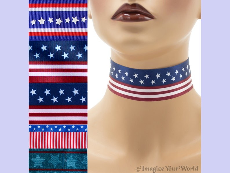 Custom PATRIOTIC Choker  7/8 or 1.5 inch Independence Day image 0
