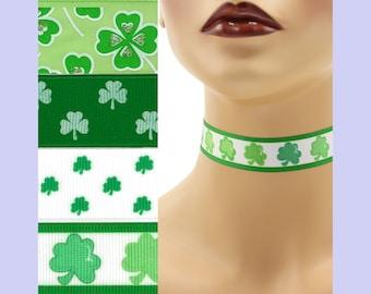 Custom St. Patrick's Day Choker 7/8 inch wide Shamrocks Luck of the Irish  Green Clover Lucky Saint Patrick ( 22 - 23 mm width) Your Size +