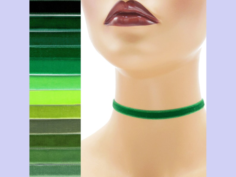 Green Velvet Choker 3/8 inch wide Custom made Your Length and image 0