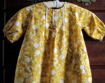 Vintage Style 1960's 1970's Cotton Boho Toddler Dress Tunic