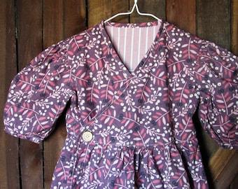 Vintage Style 1980's 1990's Prairie Floral Wrap Dress Toddler Size 5