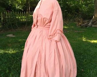 1860s Civil War Wash Dress Mended