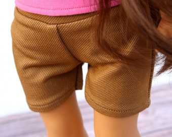 Fits like American Girl Doll Clothes - Khaki Denim-look Knit Shorts | 18 Inch Doll Clothes