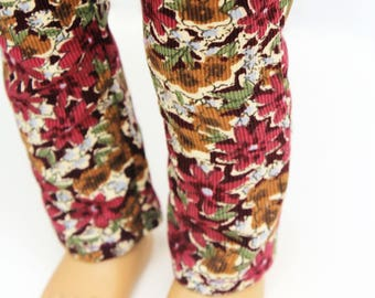 Fits like American Girl Doll Clothes - Burgundy Floral Skinny Corduroy Pants   18 Inch Doll Clothes
