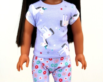 Fits like Wellie Wishers Doll Clothes - Unicorn Pajama Set in Purple | 14.5 Inch Doll Clothes