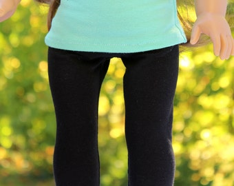 Fits like American Girl Doll Clothes - Long Leggings in Black - Made To Order   18 Inch Doll Clothes