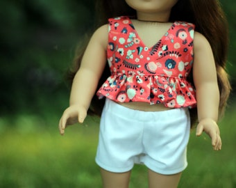 Blue Flower Ruffle Halter Top 18 in Doll Clothes Fits American Girl