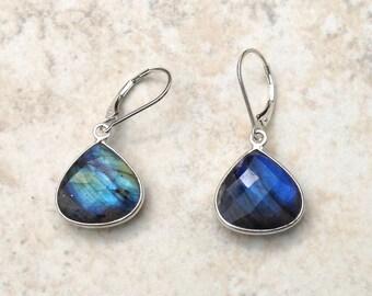 Sterling Silver and Blue Flash Labradorite Teardrop Earrings