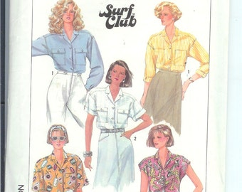 Simplicity Shirt Loose-Fitting  TOP  Easy To Sew  BLOUSE Misses  Vintage Sewing Pattern  7947  Size  HH  6-8-10-12 Surf Club