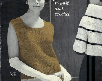 Vintage BOUTIQUE Fashions Patterns for Sweaters Wraps Vests to Knit and Crochet Vintage  Pattern  Book Volume  85
