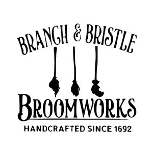 SALEM BROOM Vinyl Decal  \u2022  Halloween Decal  \u2022  Salem Broom Co  \u2022  Witch Hat Broom  \u2022  Salem Witch Decor  \u2022  DIY Halloween Sign Decal