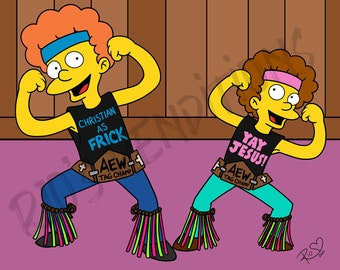 """The Young Bucks - Simpsons Inspired 11"""" x 14"""" Art Print"""