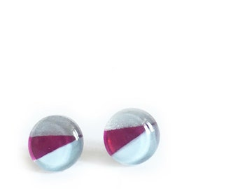 Light blue, fuchsia & silver earrings  | minimalist  lines | post earrings |  handpainted glass by azurine