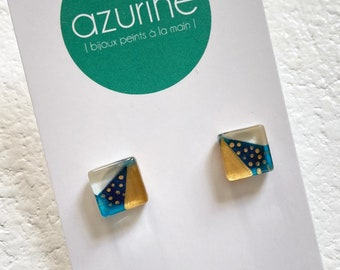 Teal and white earring | gold dots | post earrings | surgical steel | handpainted glass by azurine