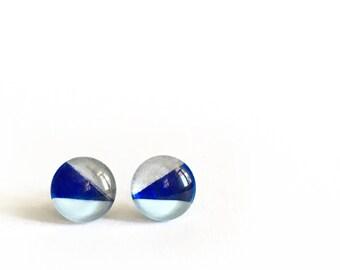 Blue & silver earrings  | minimalist  lines | post earrings |  handpainted glass by azurine