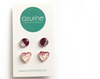 Pink heart earrings set | confetti | minimalist post earrings | handpainted glass by azurine