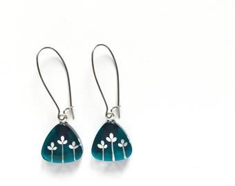 Teal earrings | bud floral | minimalist and modern | dangle earrings | handpainted glass by azurine