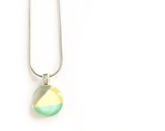 Mint, yellow & silver necklace | minimalist lines | on stainless steel chain | hand painted glass by azurine