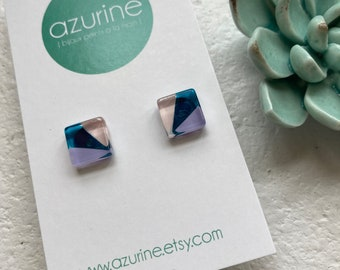 Teal pink lilac post glass earrings | surgical steel | hand painted by azurine | fait au Québec