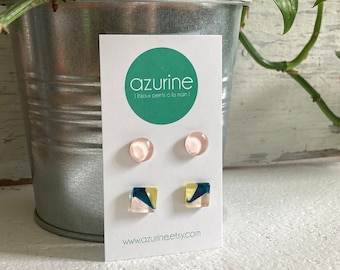 Modern minimalist earrings  (set of two) | pink yellow and teal |  surgical steel | handpainted glass by azurine